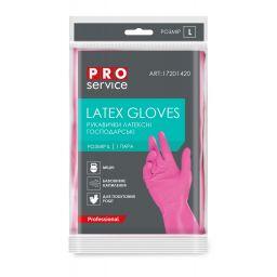 Перчатки PRO service Professional латексные розовые, L (1 пара)