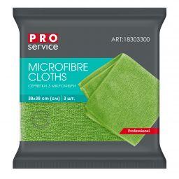 Серветки з мікрофібри PRO service Professional зелені, 3 шт