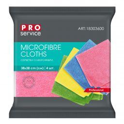Серветки з мікрофібри PRO service Professional мікс кольорів, 4 шт