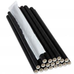 PRO Паперова соломинка,(iндивiдуальна упаковка) L-204мм, D-6мм чорна, 500 шт/уп