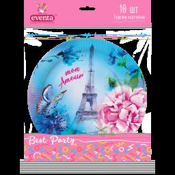 Тарелки картонные с рисунком Париж, EVENTA 23 см, 10 шт.
