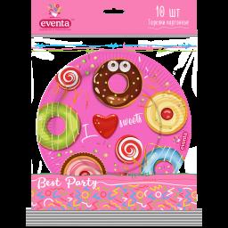 Тарілки паперові з малюнком Пончики, EVENTA 23 см, 10 шт.