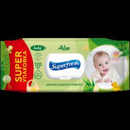 Super Fresh Серветка волога для дітей та мам з екстрактом алое 120 шт.