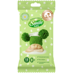 Дитячі вологі серветки Smile baby з екстрактом ромашки і алое 15 шт.
