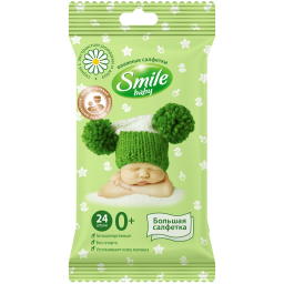 Дитячі вологі серветки Smile baby з екстрактом ромашки і алое 24 шт.