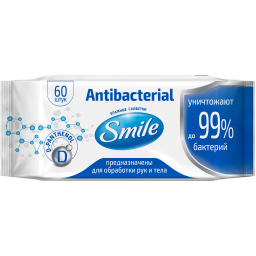 Вологі серветки Smile Antibacterial з Д-пантенолом 60 шт.