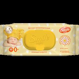 Дитячі вологі серветки Smile baby з екстрактом ромашки і алое 60 шт.