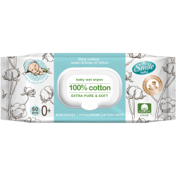 Дитячі вологі серветки Smile baby 100% cotton 50 шт.