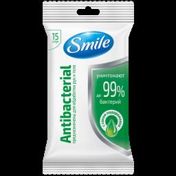 Влажные салфетки Smile Antibacterial с соком подорожника 15 шт.