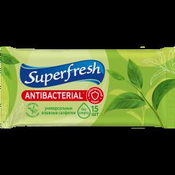 Superfresh Серветки вологі Антибактеріальні Green Tea 15 шт.