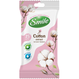 Вологі серветки Smile Natural з екстрактом бавовни 15 шт.
