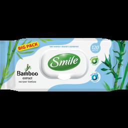 Вологі серветки Smile Natural з екстрактом бамбука 120 шт.