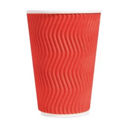 PRO Стакан паперовий Riple 400 мл, червон, 15 шт/уп