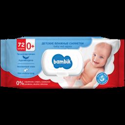 Вологі серветки ТМ Bambik дитячі з екстрактом липи 72 шт.