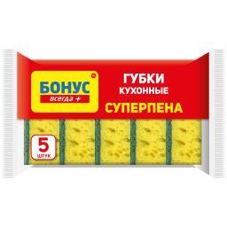 """БОНУС Губка кухонна крупнопориста """"Суперпіна"""" 5 шт."""