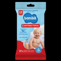 Влажные салфетки  детские антибактериальные 15 шт, ТМ Bambik